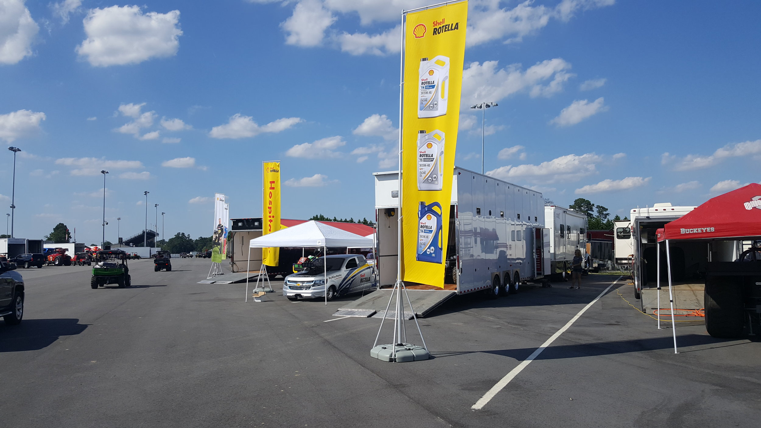 A Rotella fan-engagement zone is setup near the track throughout the weekend.