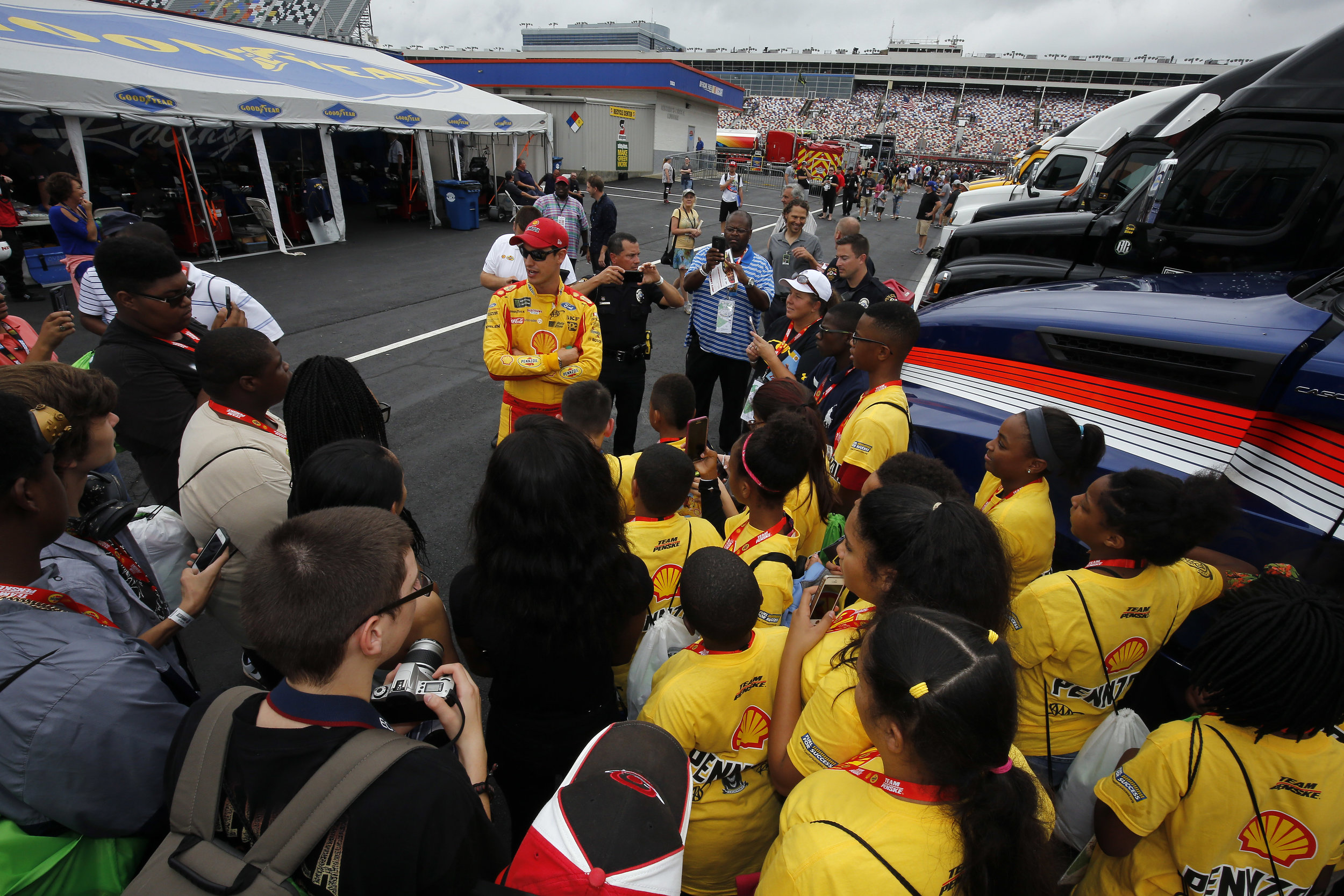Joey Logano meets with students members of Fuel for Success.