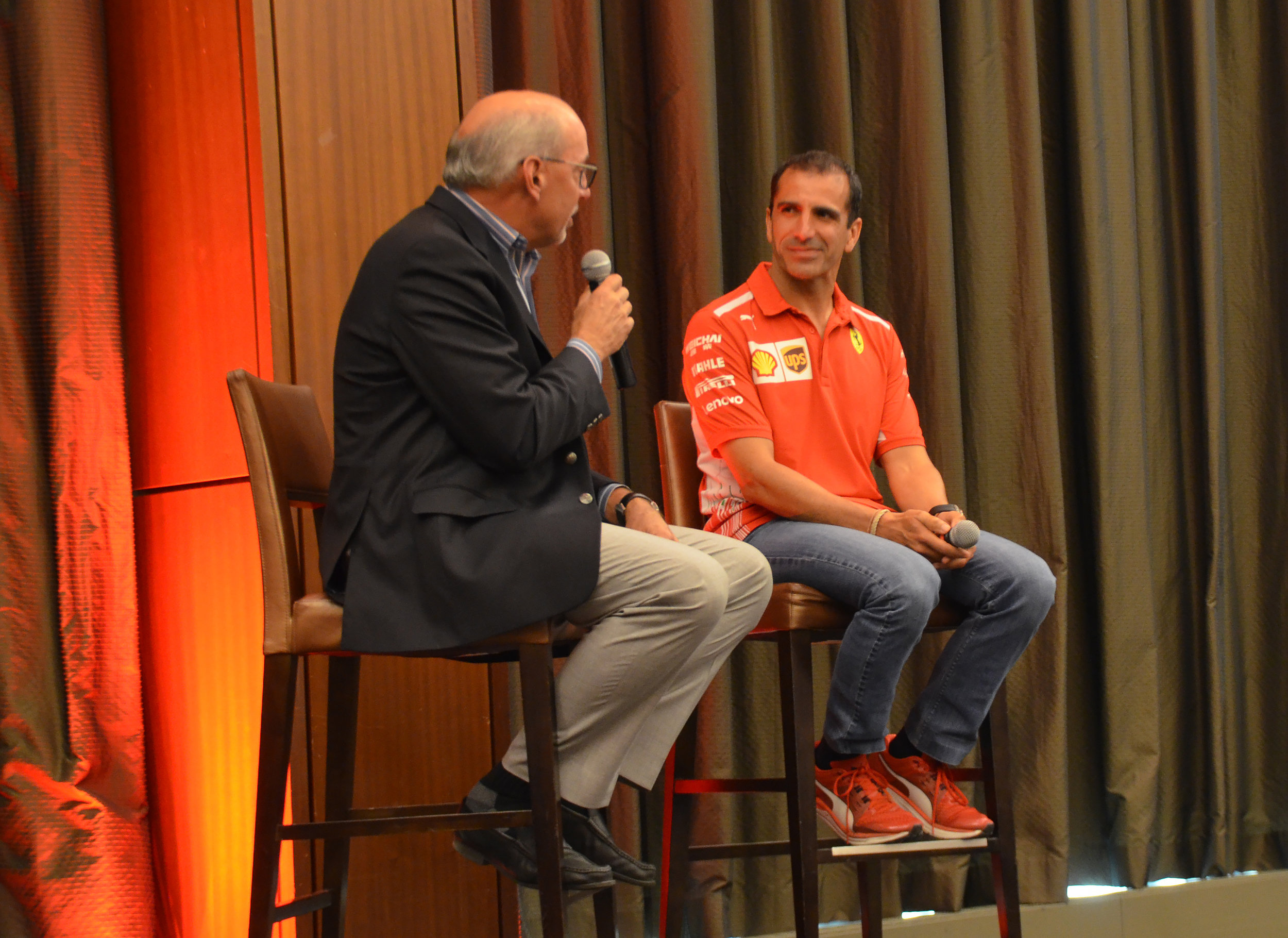 Ron Schneider interviews Ferrari development driver, Marc Gené. Guests got a chance to learn more about the significance of the technical partnership between Shell and Ferrari.