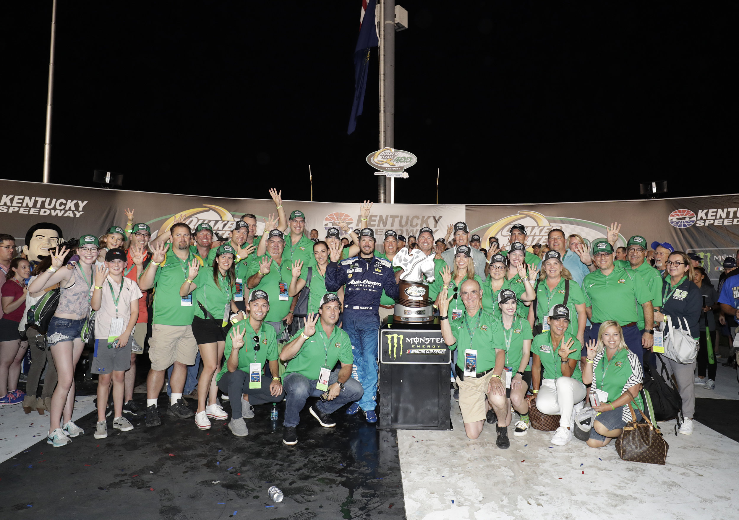 Celebrating in Victory Lane after a fantastic race!