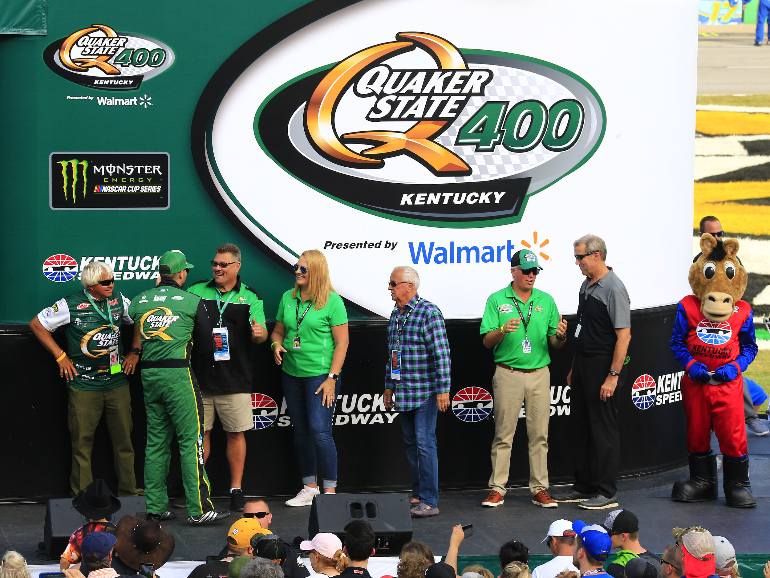 Quaker State VIPs on the stage for the driver's introductions.