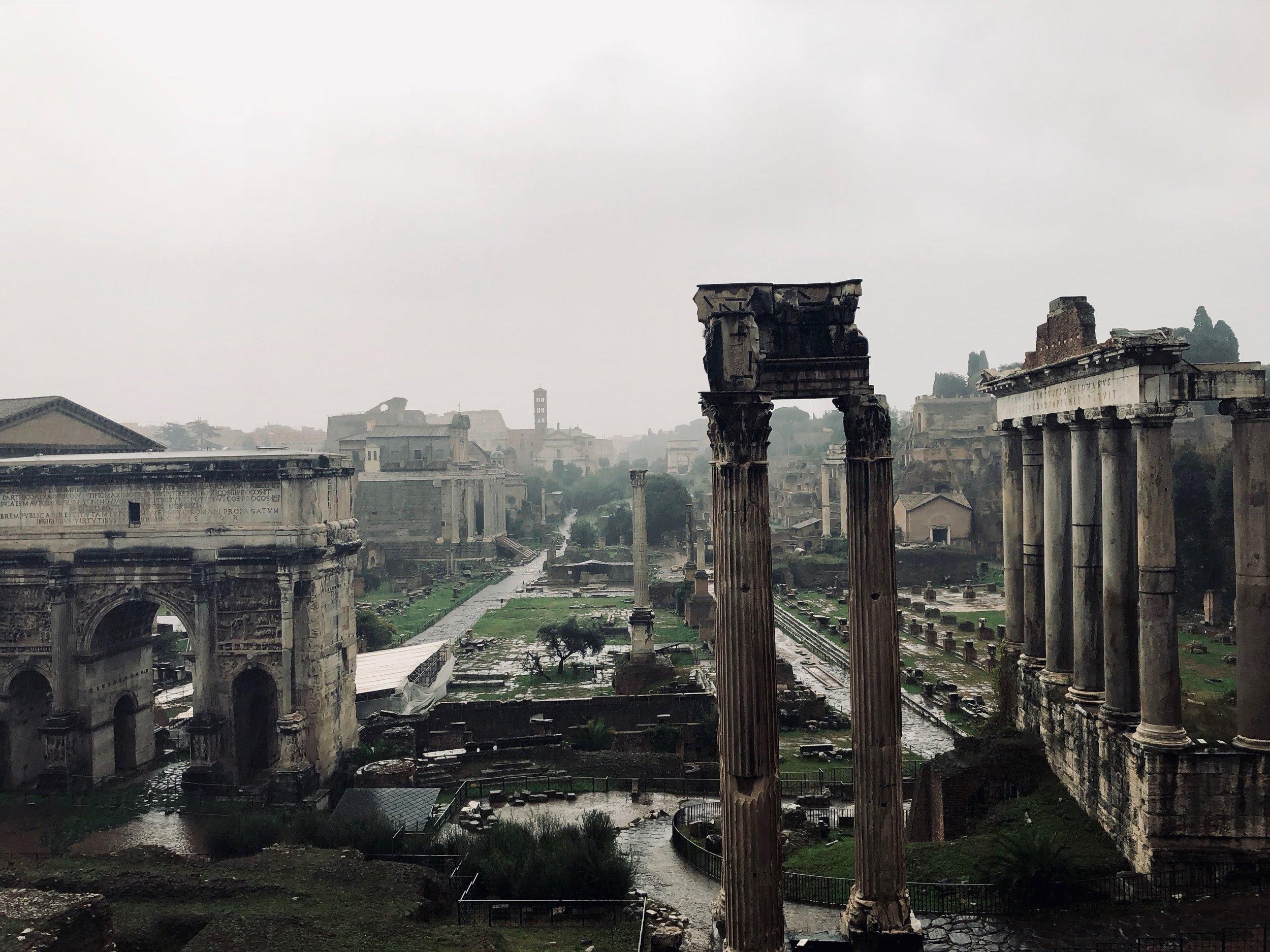 Overlooking the Roman Forum.