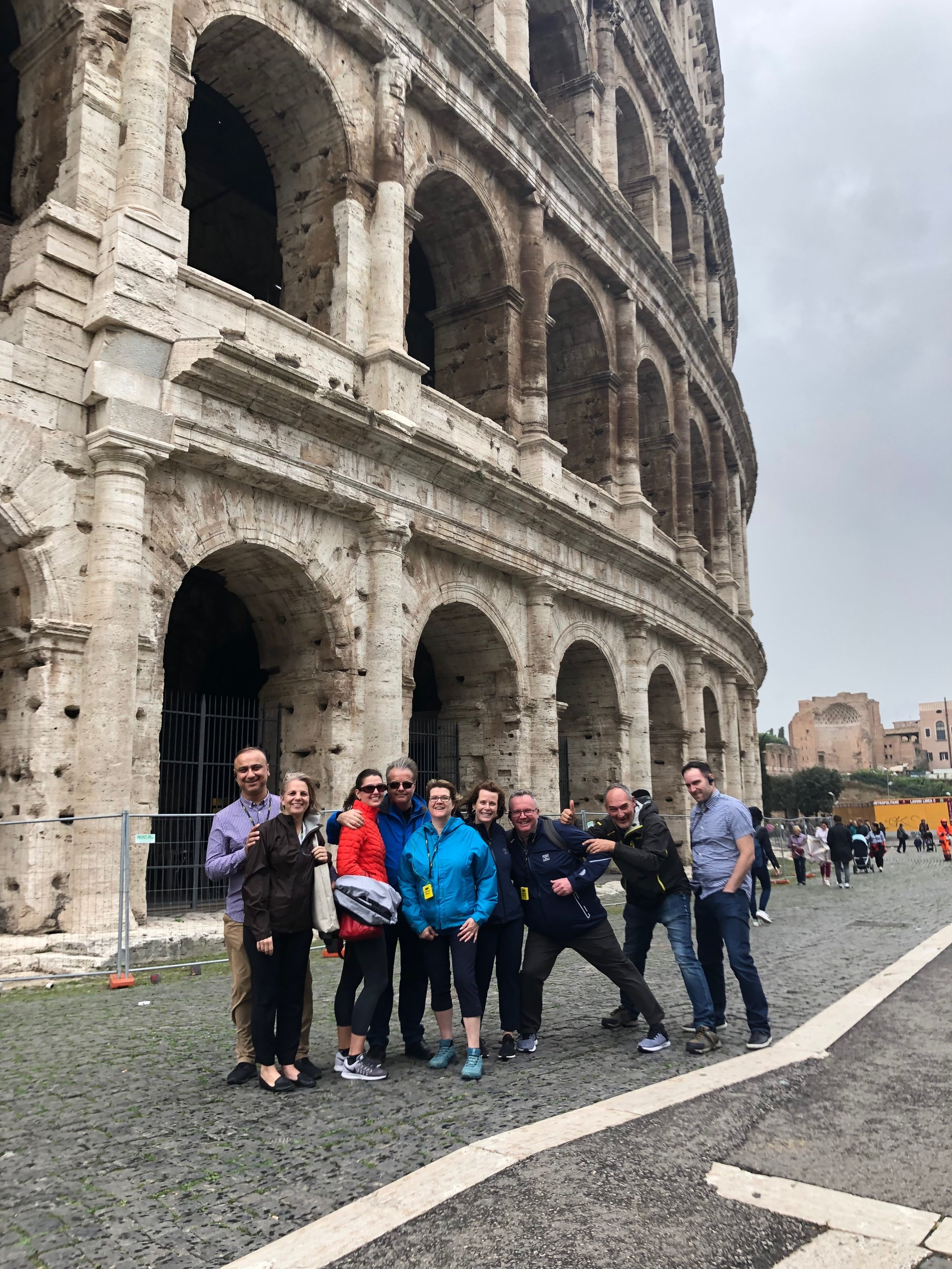 A wet and windy day at the Colosseum prevented us from going inside due to safety concerns, but still gained an impressive view.