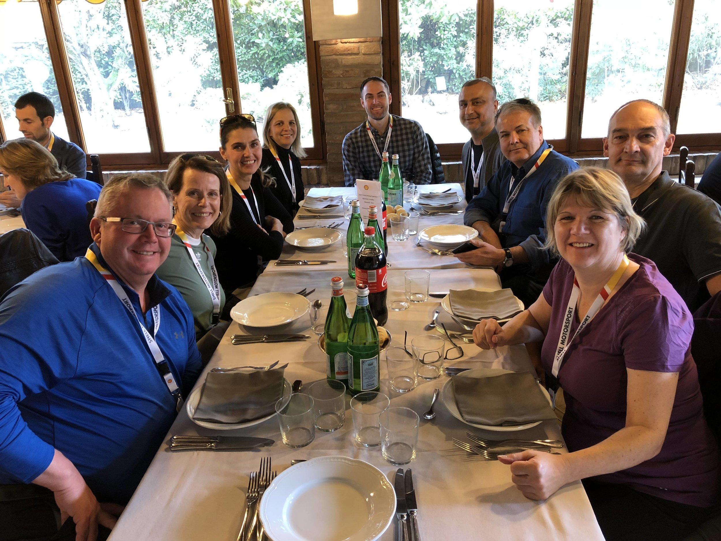 Lunch at Ristorante Cavallino, Ferrari's own restaurant in Maranello.