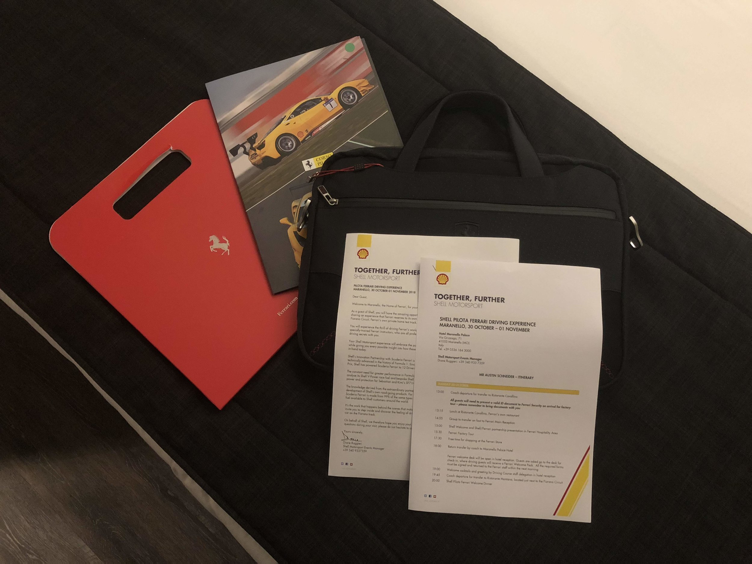 Shell welcome kit in Maranello.