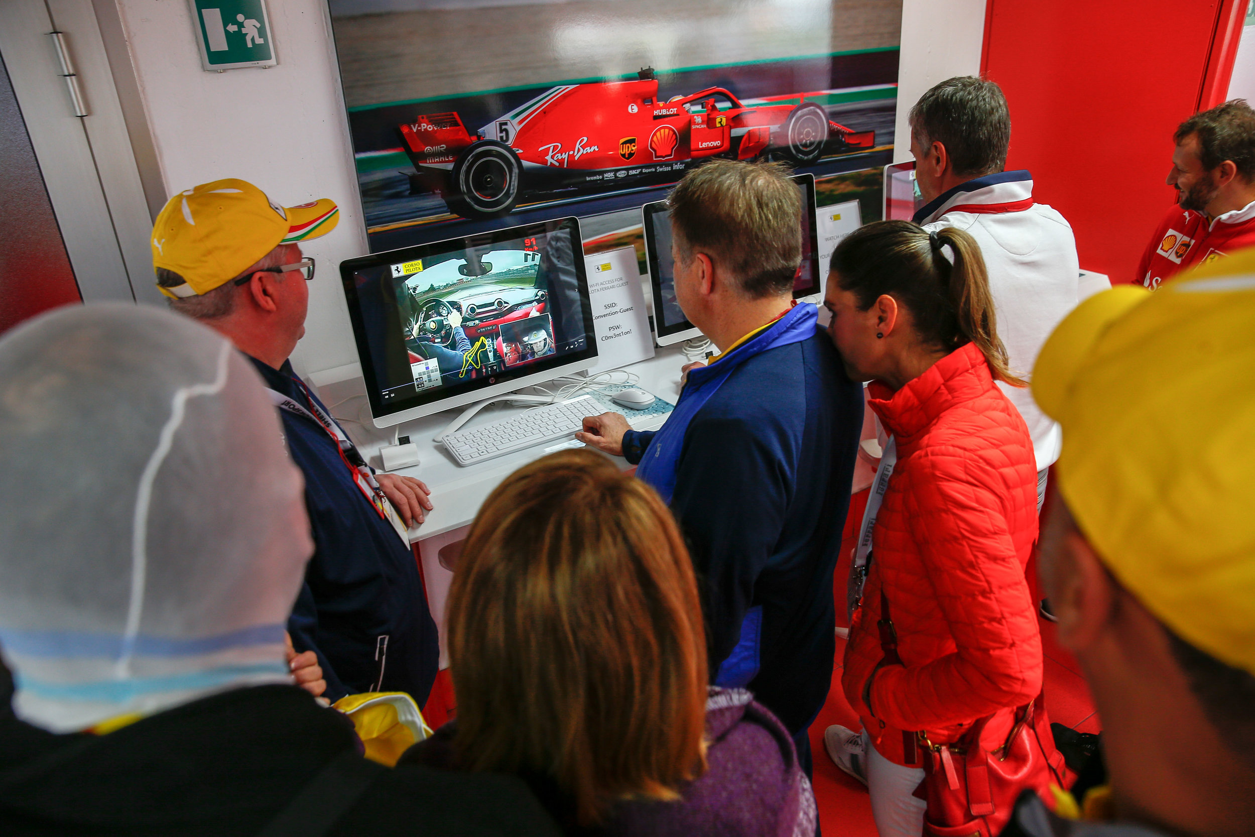 Our guests looking over telemetry data and onboard camera in-between drives.