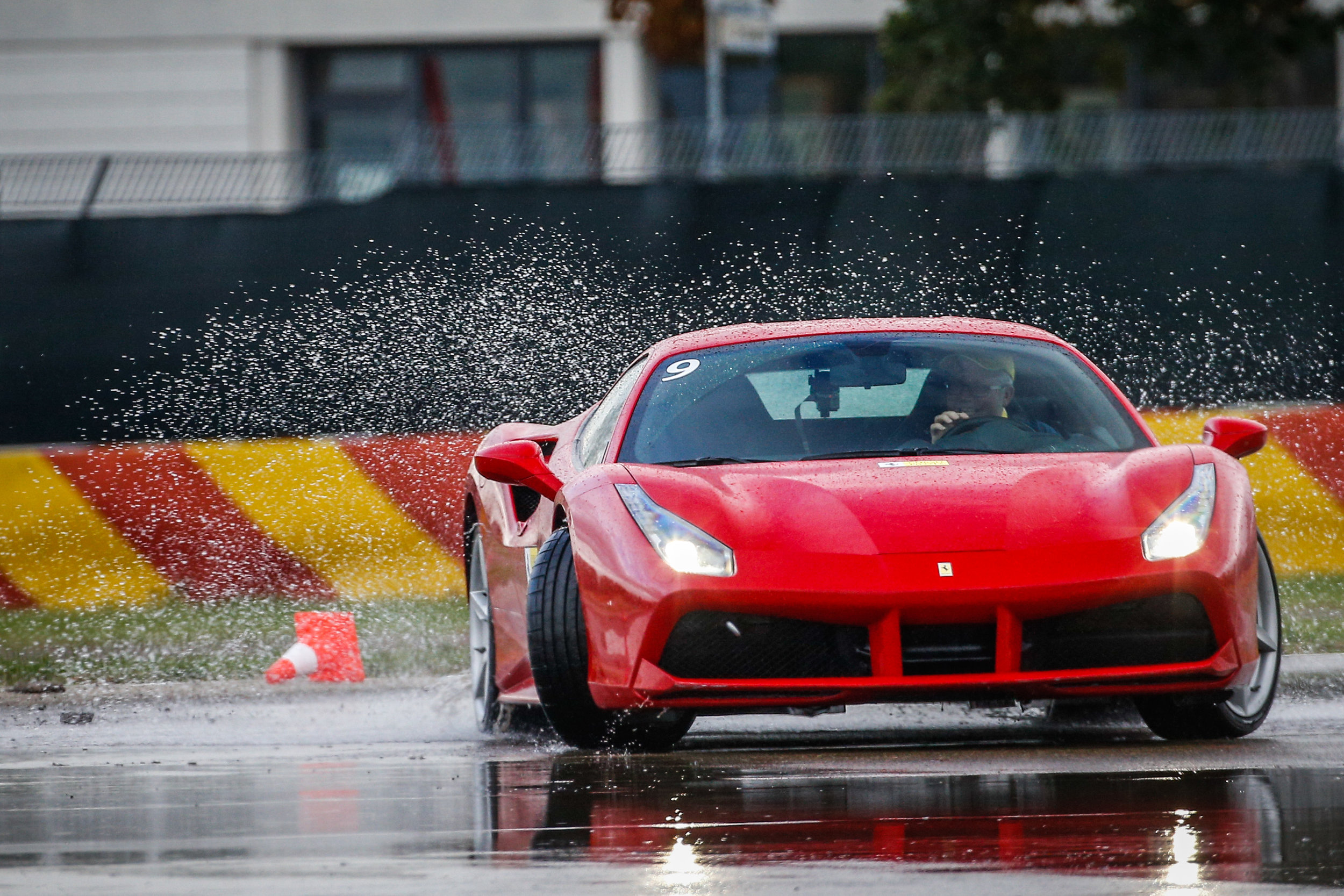 On the skid pad with the 488 Italia.