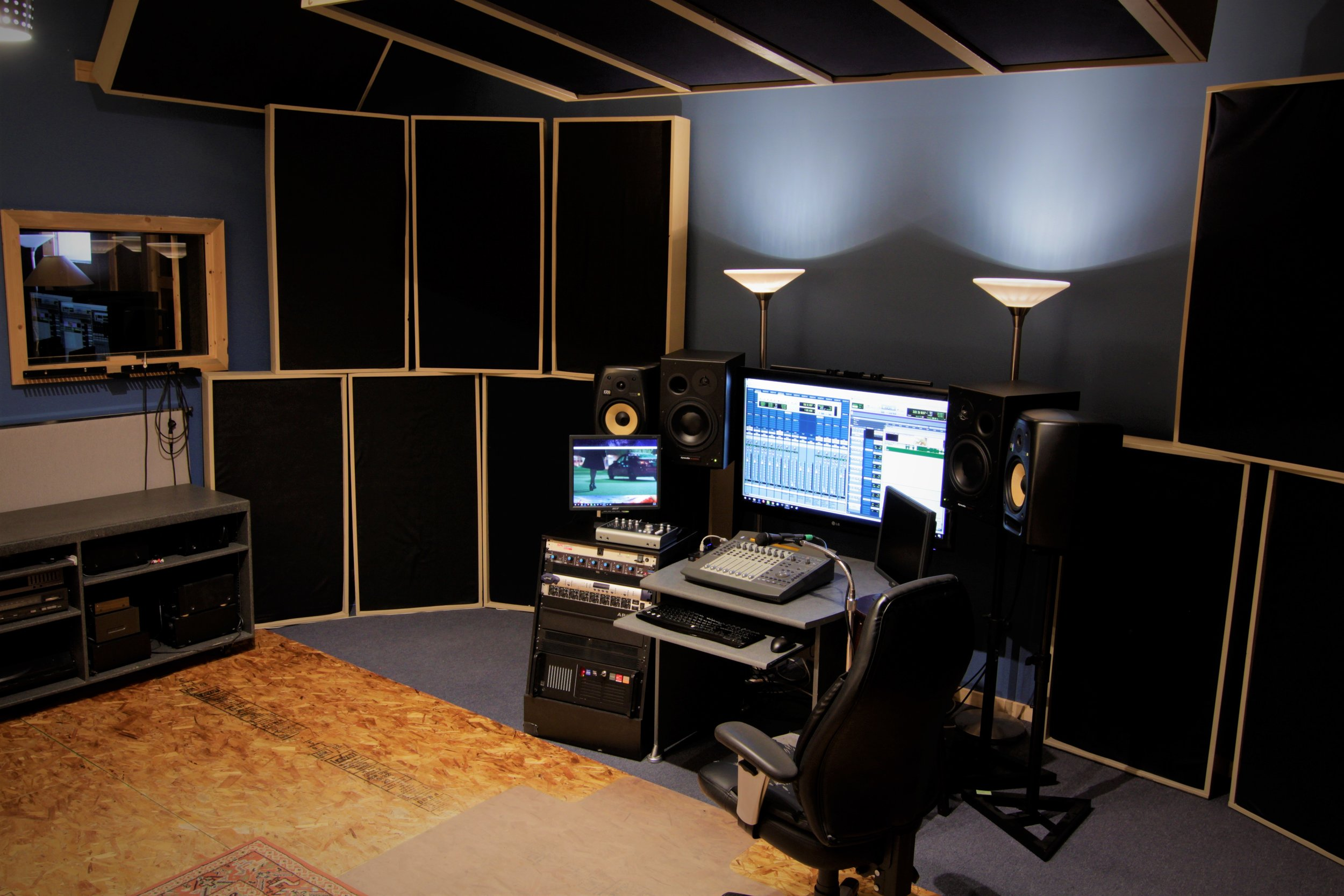 View to vocal booth, live room