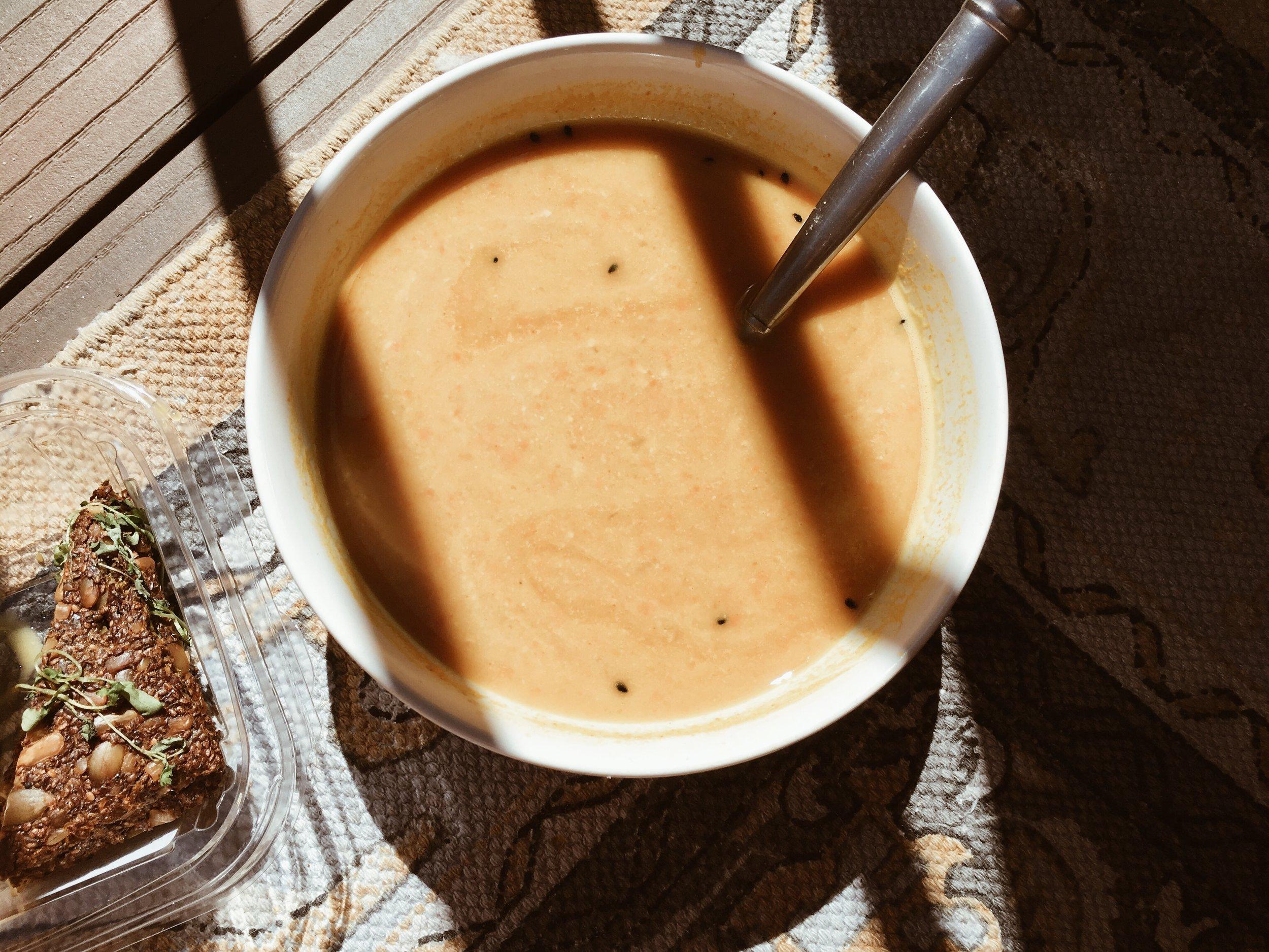 sakara vegan carrot soup menu