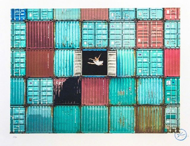 'Ballerina Jumping in Containers' by renowned artist @jr  Dm us for details and to purchase this beautiful piece!