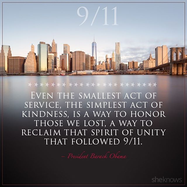 In honor of all who lost their lives on 9/11, let's honor them by committing to one act of kindness today.  #neverforget #actofkindness #911