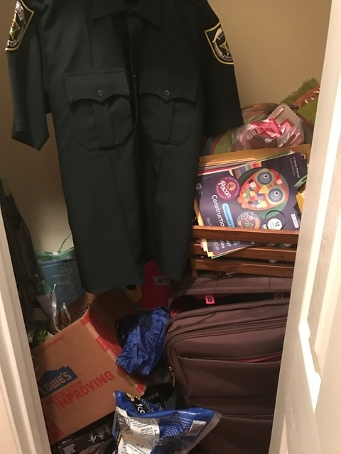 An example of one our closets; I'd estimate that 50% of them look like this. It's like a junk drawer...but a closet so there's room for so much more crap!