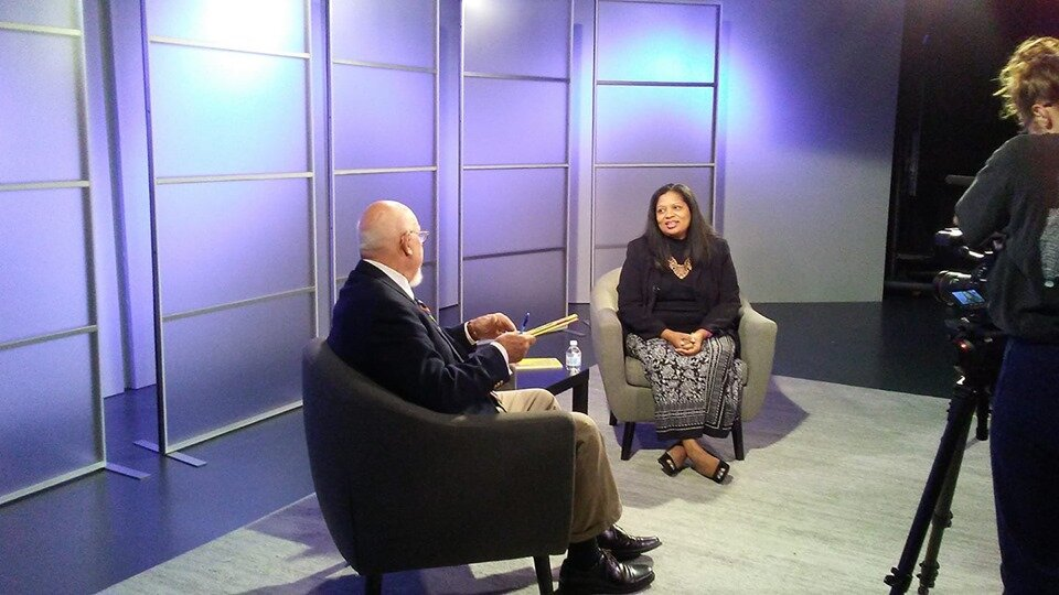 Poet Jacqueline Trimble speaking to Don Noble on Alabama Public Television.