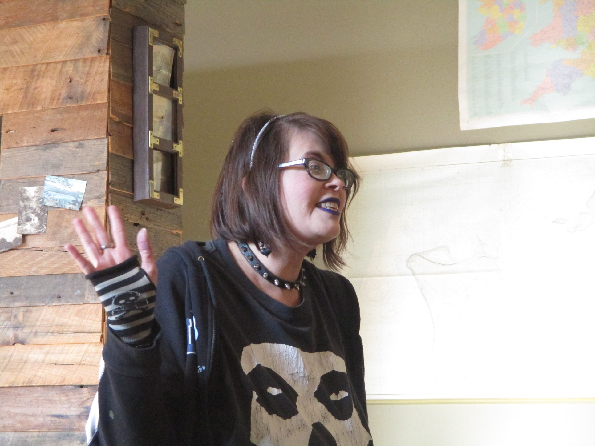 Poet Lori Lasseter Hamilton after a reading in Birmingham, Alabama.