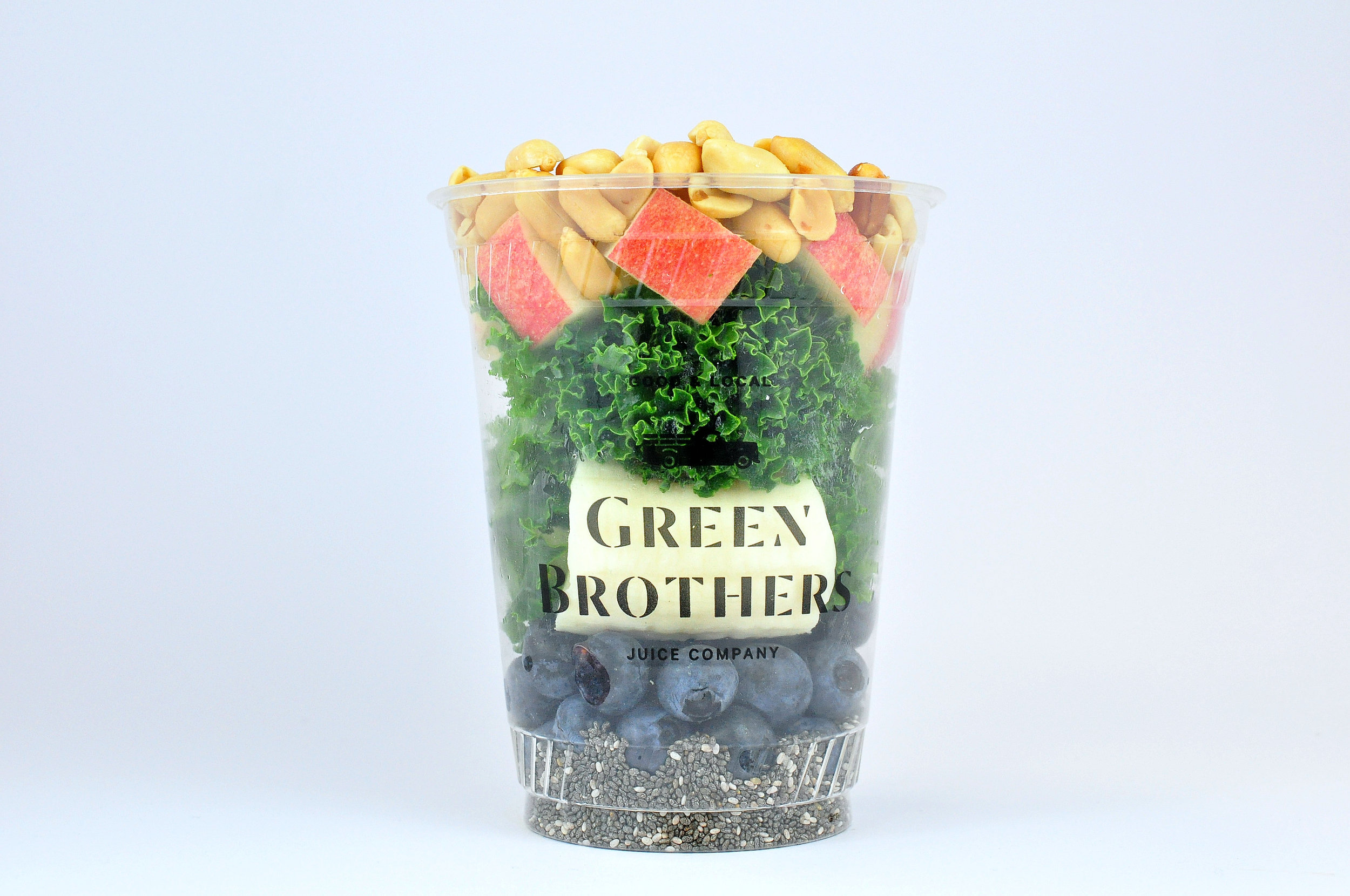 Antioxidants, protein, and fiber- Everything you need for a healthy meal on the go - blueberry, banana, peanut butter, kale, coconut oil,maca root, chia seeds, vegan protein, apple juice &almond milk