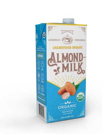 We use unsweetened Organic Almond Milk made by Generous Provisions in all our smoothies