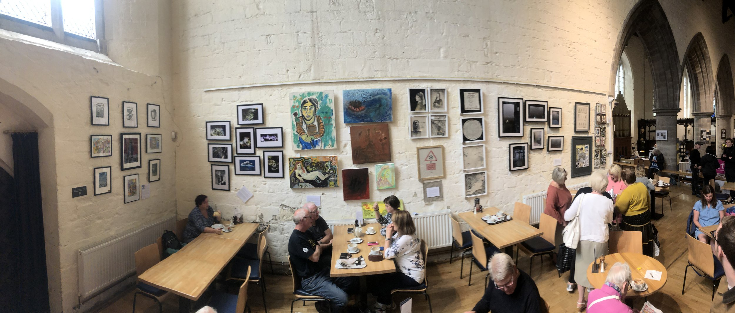Exhibition at All Saints' Cafe, Hereford. Group exhibition with other Hereford College of Art Graduates. Large paintings in middle mine, detail below.