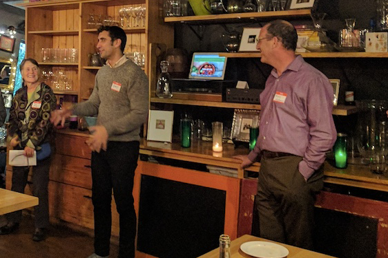 """Speaker Brady Walkinshaw (center) discusses the importance of consumer facing advocacy work of organizations like FOOD ACTION, noting that no one else is currently acting as a """"voice"""" for the food system. Shown here with FOOD ACTION Executive Director, Russell Lehman (right), and Board Chair, Anne Harvey (left)."""
