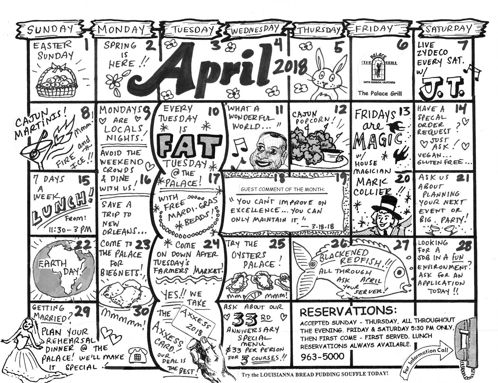 April Calendar of Events 2018