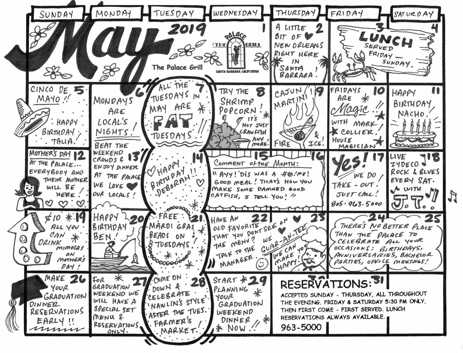 May 2019 Event Calendar for The Palace Grill
