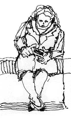 Woman on train with mobile, pen