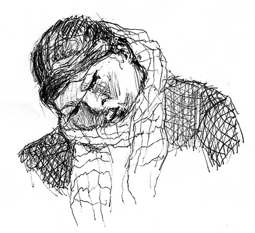 Woman on train sleeping, pen