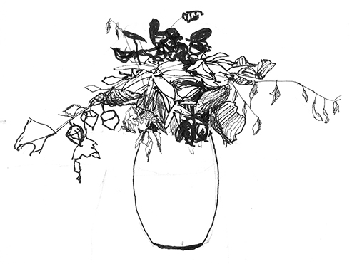 Vase of leaves, pen