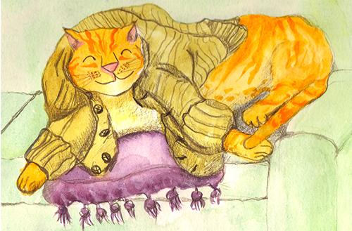 Cat in Cardigan, watercolour