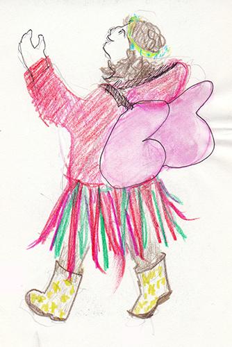 Fairy Girl sketch, crayon & pencil