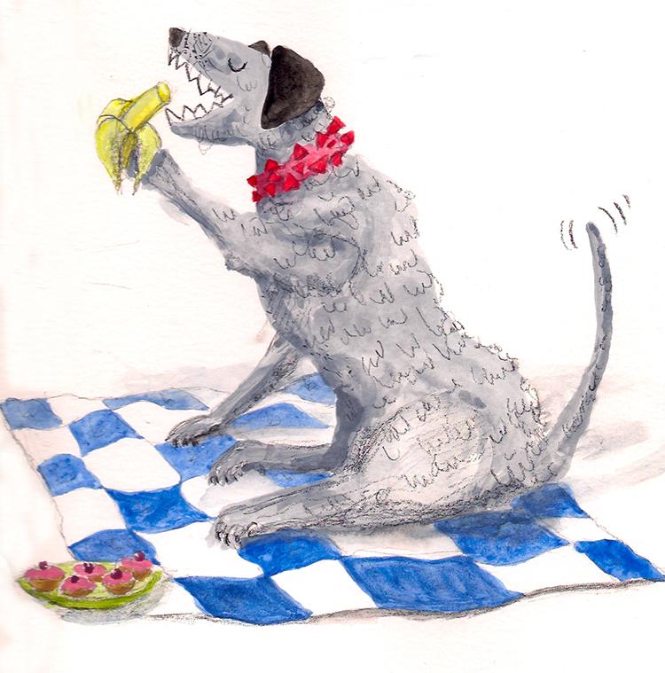 Vegetarian Dog, watercolour