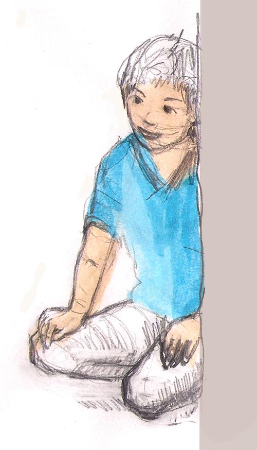 Boy Kneeling, mixed media