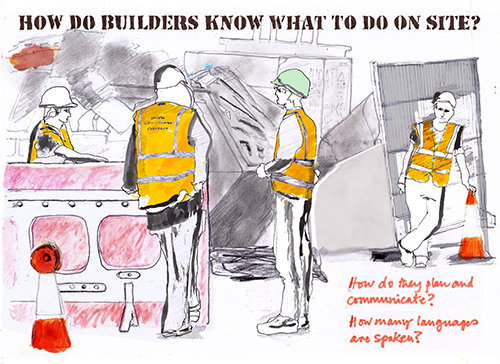 Builders, mixed media, digital