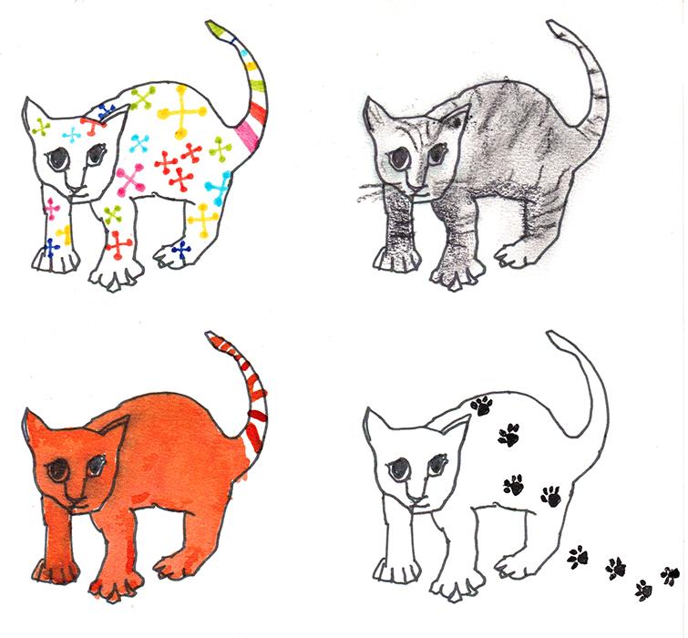 Cat Scans, fibre tip and crayon