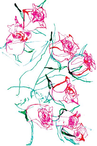 Roses, dip pen and digital