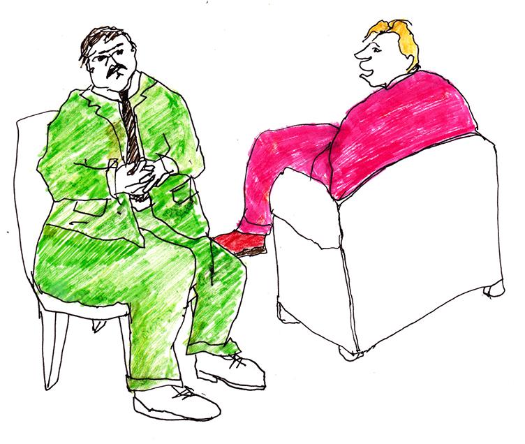 Talking Men, pen + felt tip