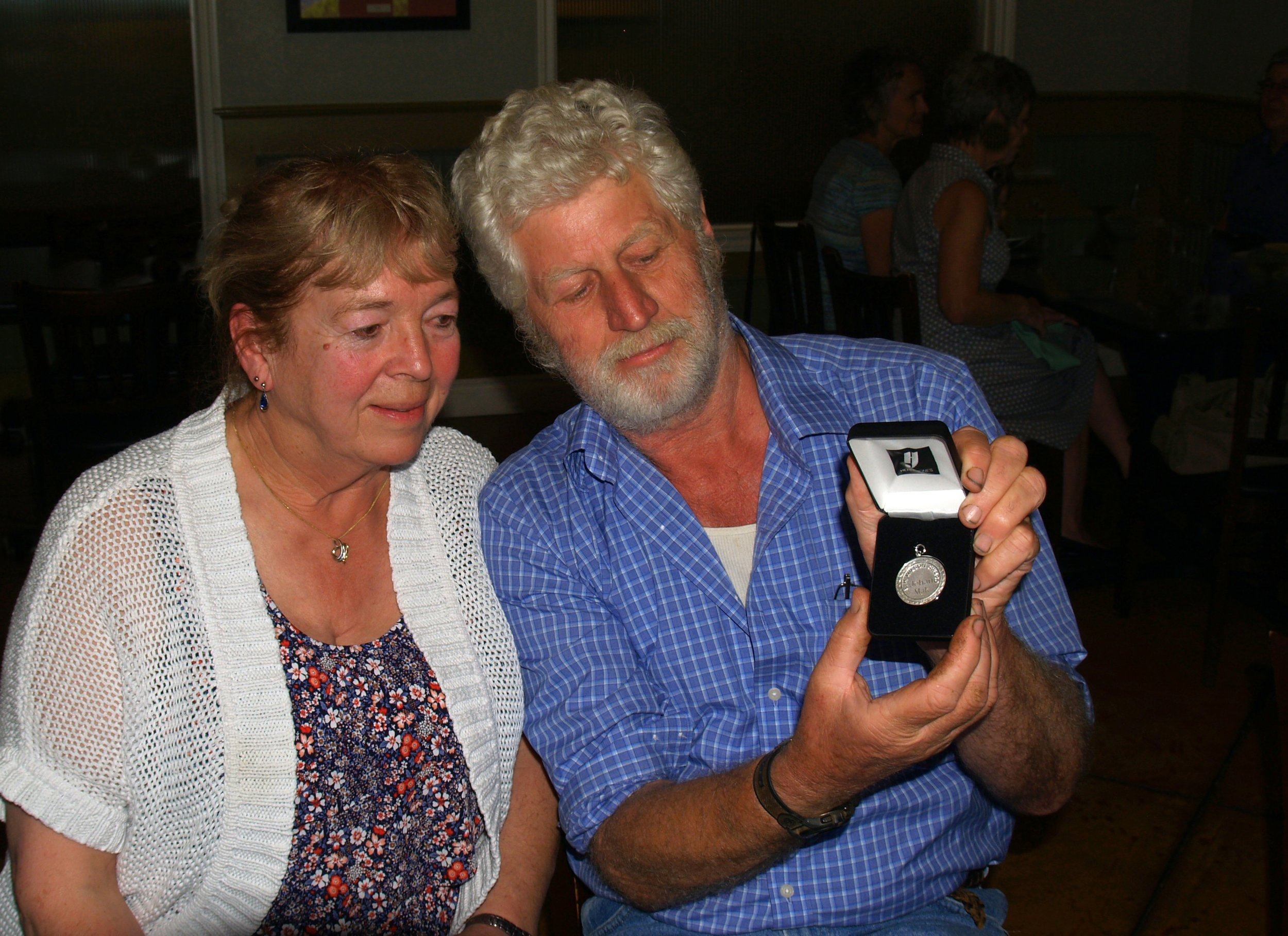 """""""Johan and Ria with the E.H. Wilson Award presented this summer by the North American Lily Society""""    Photo by 'Jerry Robertson'"""
