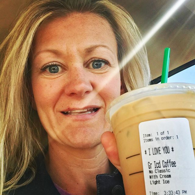 Surprised Calley with an Iced Coffee. From now when I buy coffees for someone I'm sharing a mini message instead of a name. #iloveyou #loveleadus #empower #momlife #empowerways #faith #love