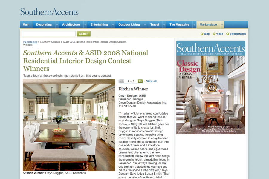Southern Accents Jan/Feb 09 Southern Accents and ASID 2008 National Residential Interior Design Contest Winners