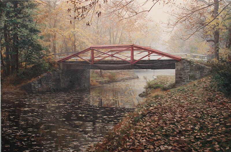 Crossing in the Mist  Oil on linen canvas by Robert J. Seufert