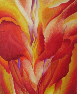 After Georgie O'Keeffe, colored pencil, by Juhi, age 13