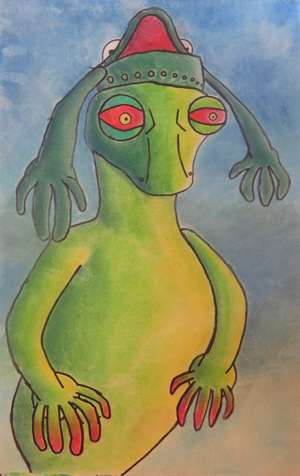 Lizard with frog hat, chalk pastel, by Stephen, age 16