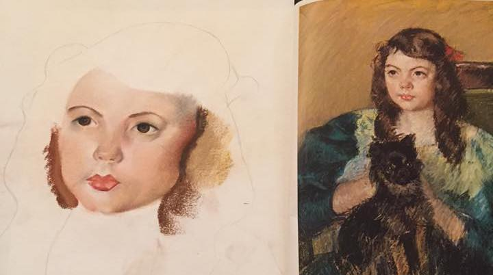 After Mary Cassatt, chalk pastel in progress, by Eda, age 15