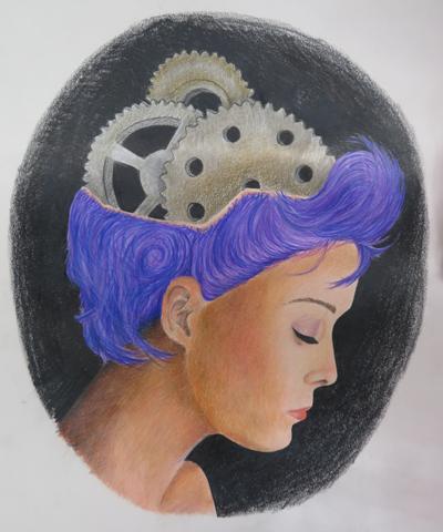 """Purple Hair"", colored pencil, by Karoline, age 16"