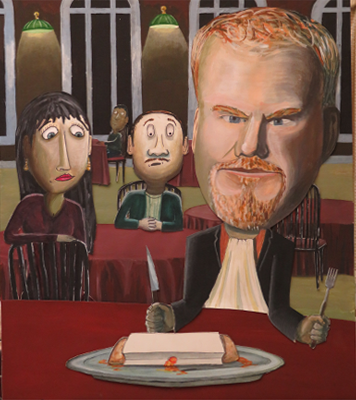 * Caricature Course: cut paper and W/C by Instructor: Patrick Seufert (Jim Gaffigan, comedian)