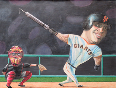 * Caricature course: Cut paper, pastel and W/C (caricature of Barry Bonds) by Instructor: Patrick Seufert