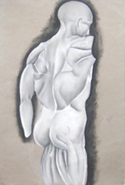 Chalk figure drawing, drawn from life, by Jocelyn, age 17