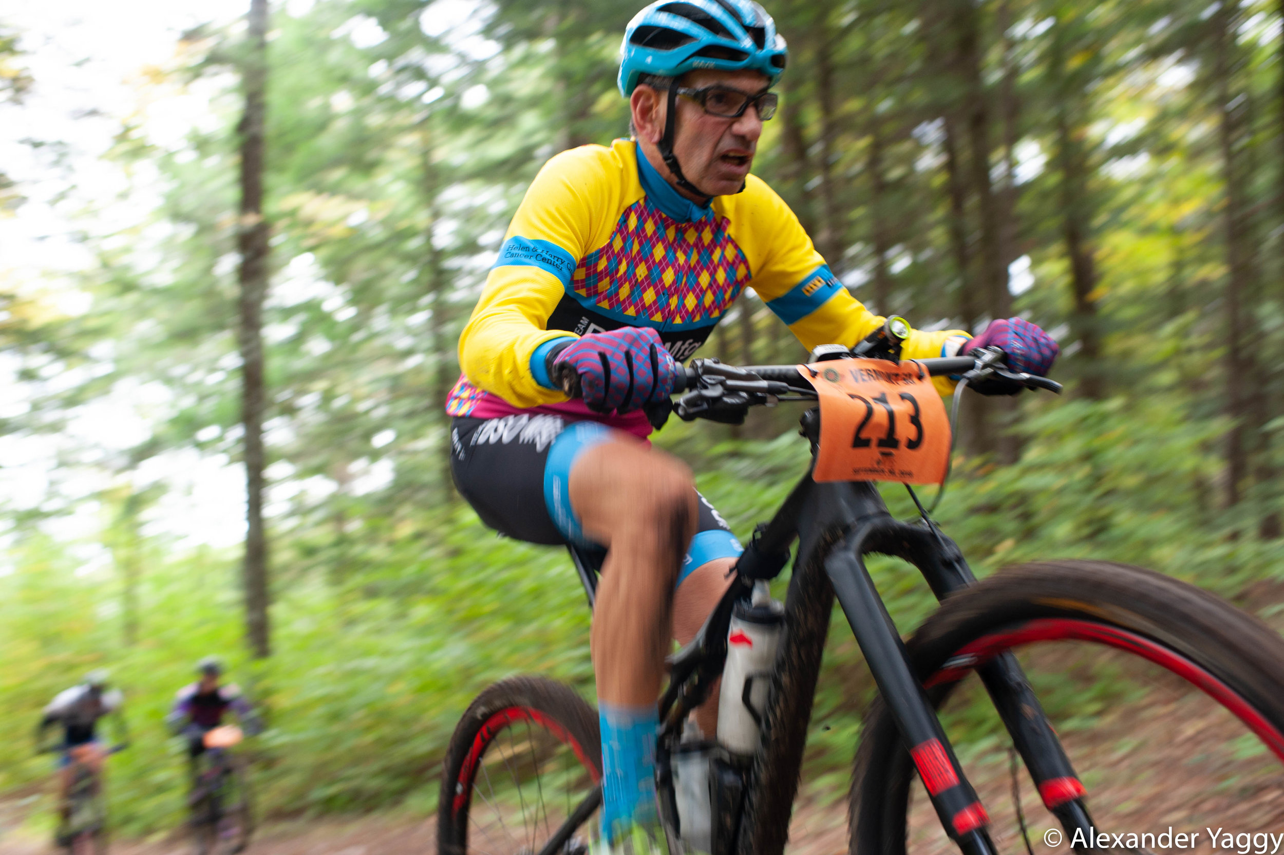 Every uphill is an opportunity to gain as this gentleman dusts some younger riders.
