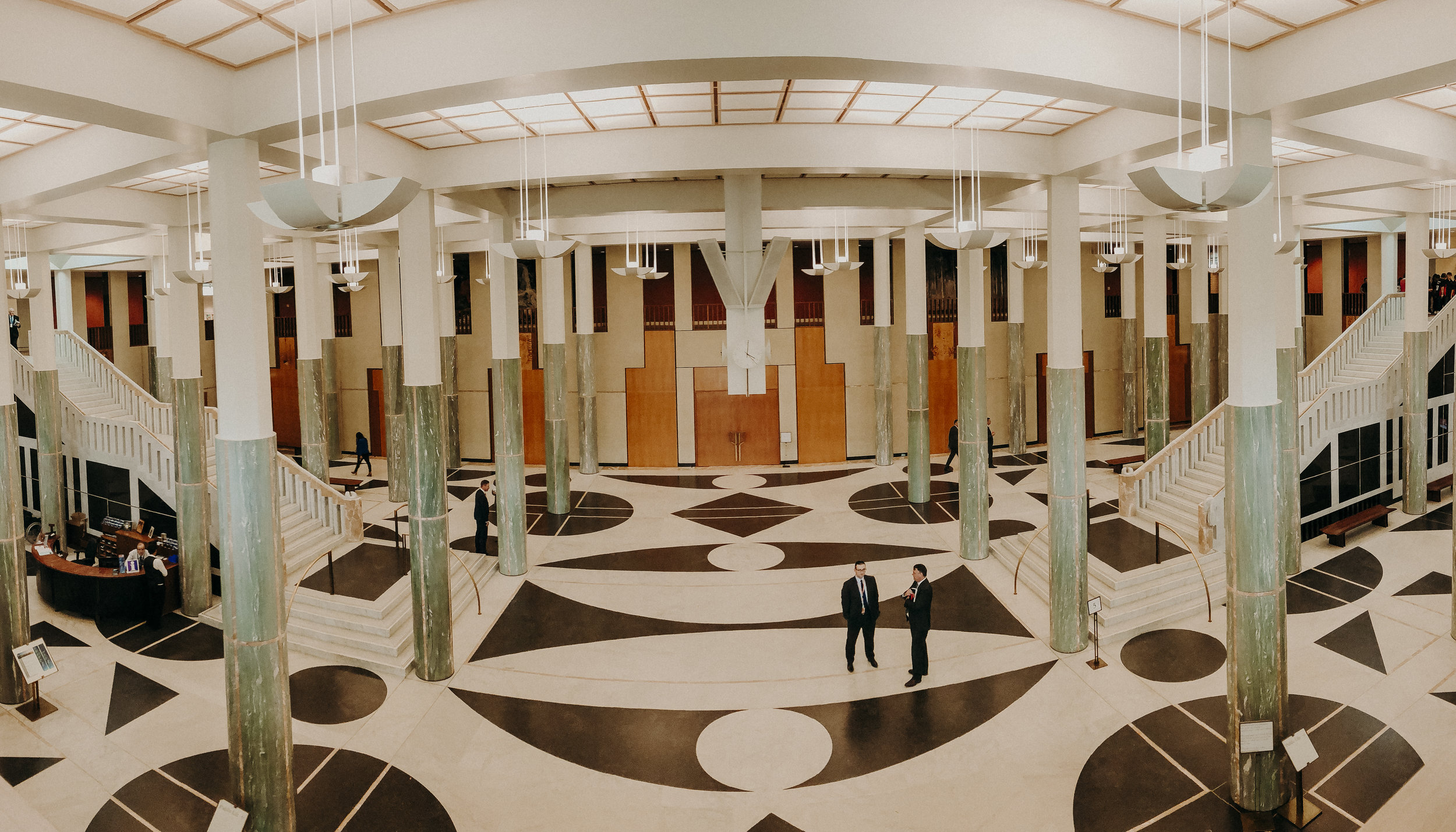 Panorama taken inside the new Parliament House.