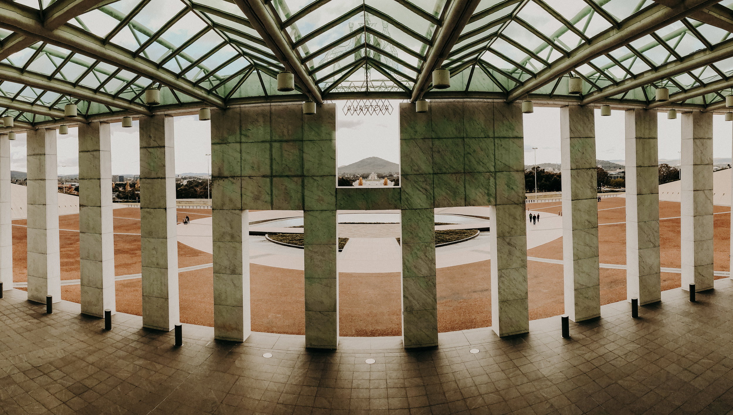 Panorama taken on the balcony of the new Parliament House.