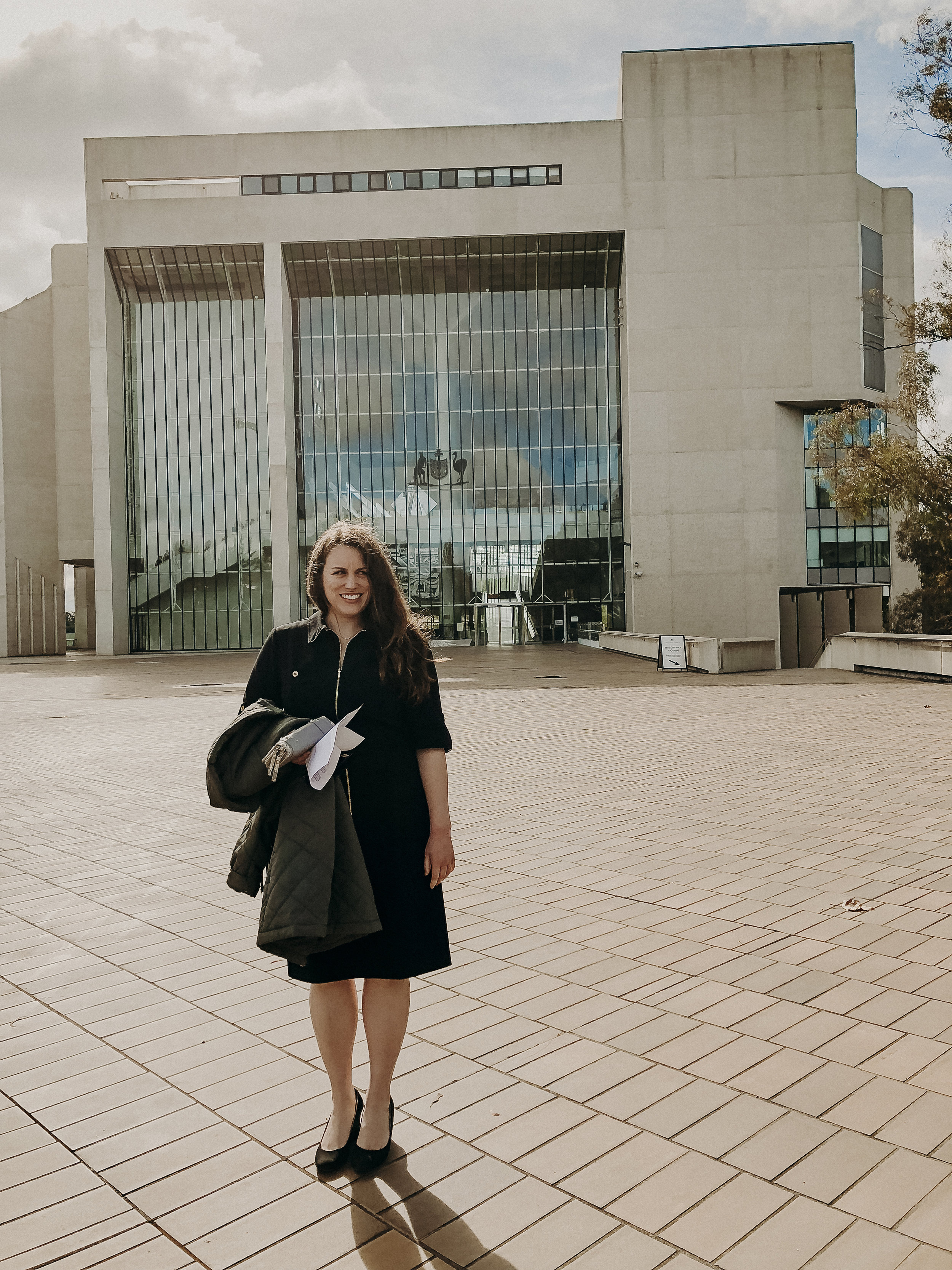 Christine outside the High Court of Australia.